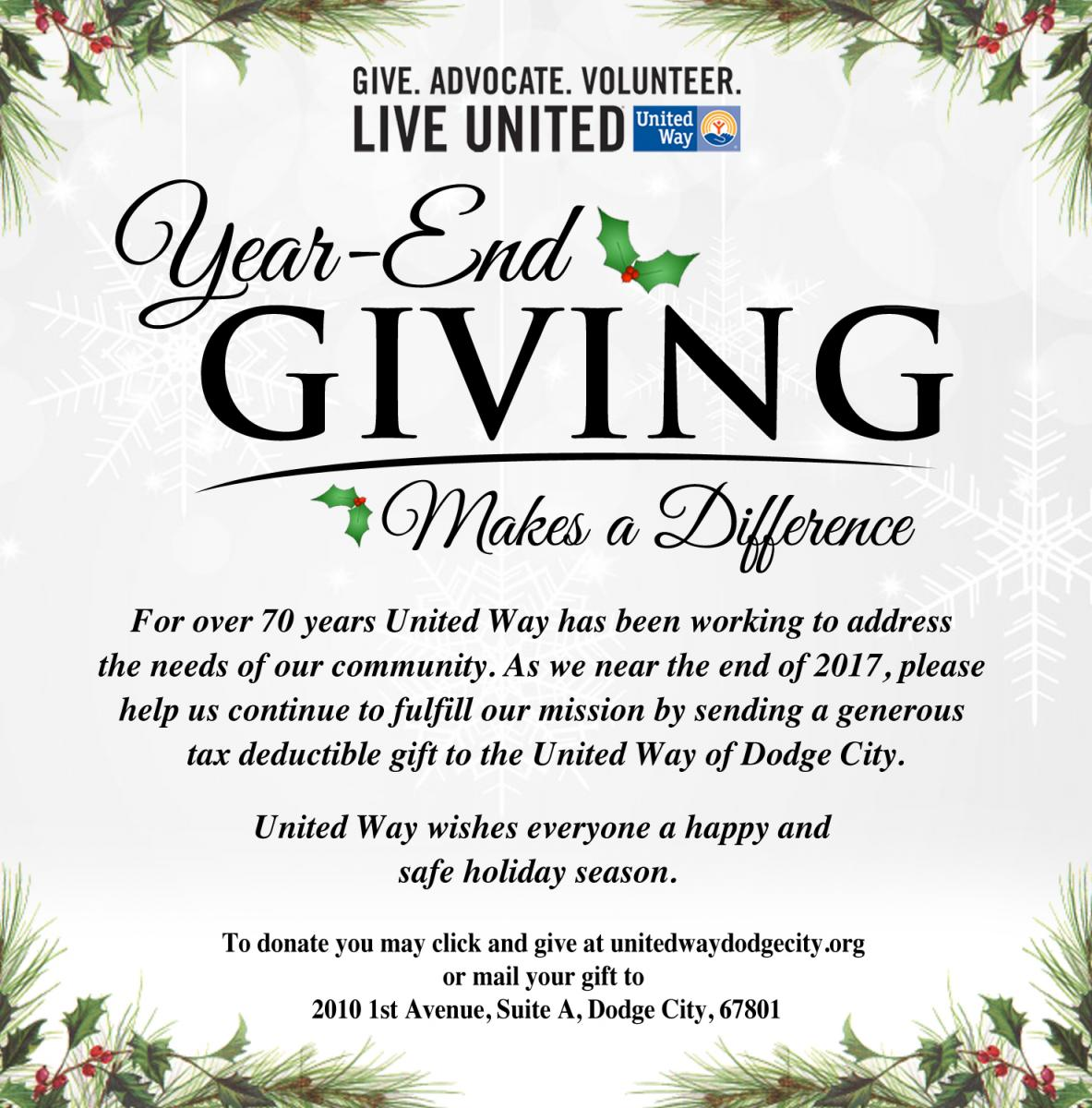 Year-End Giving | United Way of Dodge City